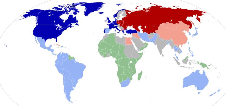 L'assetto delle alleanze della Guerra Fredda nel 1959.