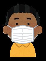 マスクを付けた人のイラスト(黒人男性)