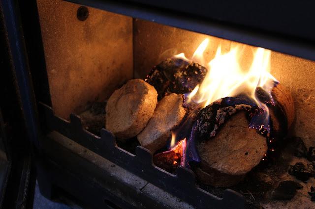 burning sawdust briquettes