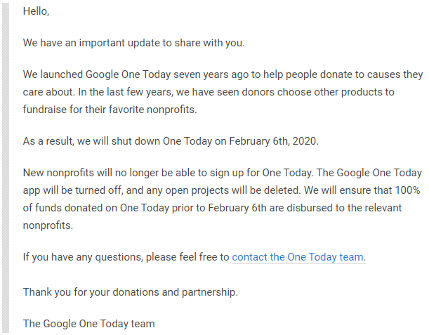 Google is killing Google One Today, gives supporters just seven days' notification