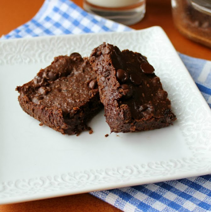 Fudgy Black Bean Brownies on a white plate