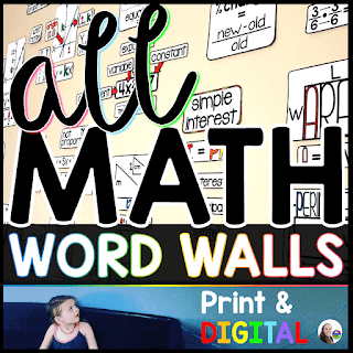 Math Word Wall Bundle - print and interactive digital math word walls