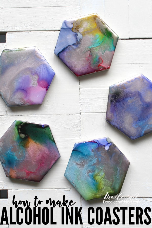 Alcohol Ink Painted Hexagon Coasters Diy
