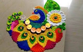 Colourful Peacock Rangoli Design