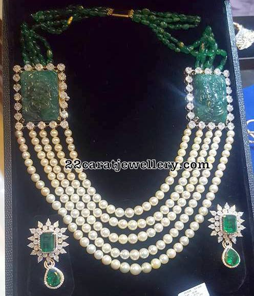 South Pearls Set with Emerald Diamond Earrings