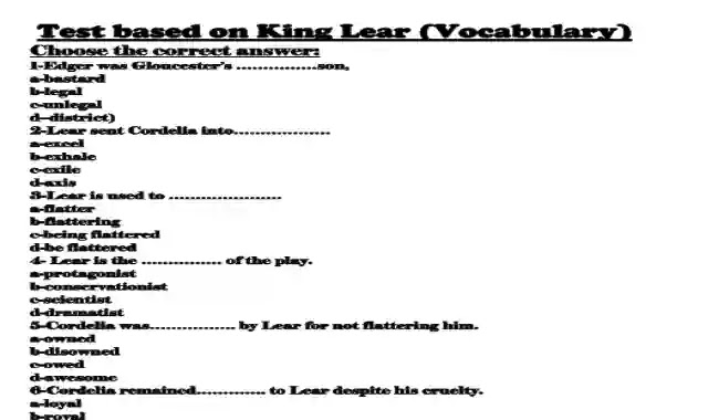 30 سؤال اختار على قصة الملك لير king lear للصف الثانى الثانوى الترم الاول 2021 بصيغة وورد