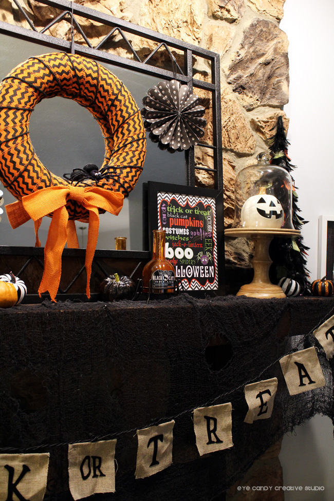 jack o lantern, halloween mantel decorations, orange & black halloween
