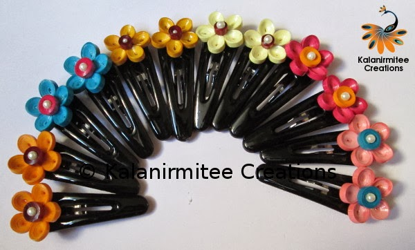 kalanirmitee: paper quilling-quilling- quilled flowers- flowers- hairclips- hair accessories