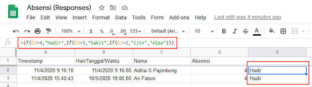 tampilan data absensi menggunakan logika