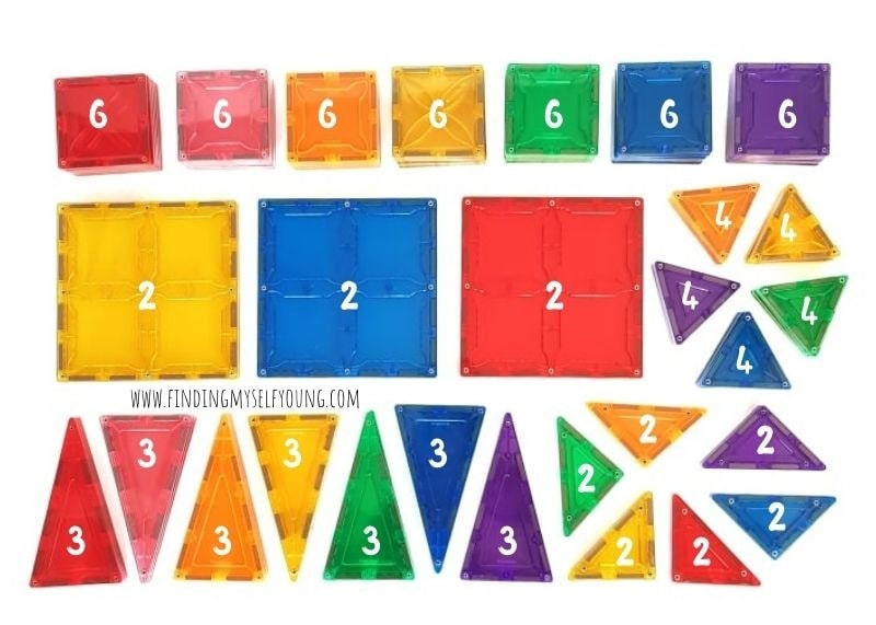 magblox 101 piece set by colour and tiles