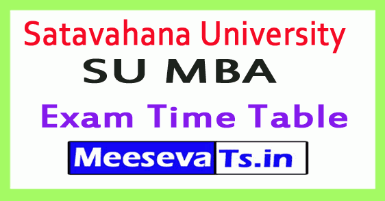 Satavahana University SU MBA Exam Time Table