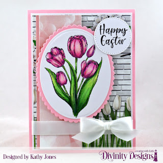 Divinity Designs Stamp Set:  Glorious Easter, Paper Collection: Spring Flowers 2019,  Custom Dies: Scalloped Ovals, Ovals, Pierced Circles