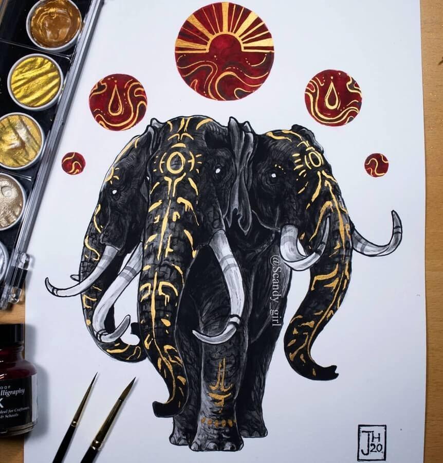 12-Three-headed-elephant-Mythology-Jonna-Hyttinen-www-designstack-co