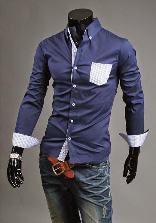 Camisa Casual com Bolso Xadrez - Azul Escura