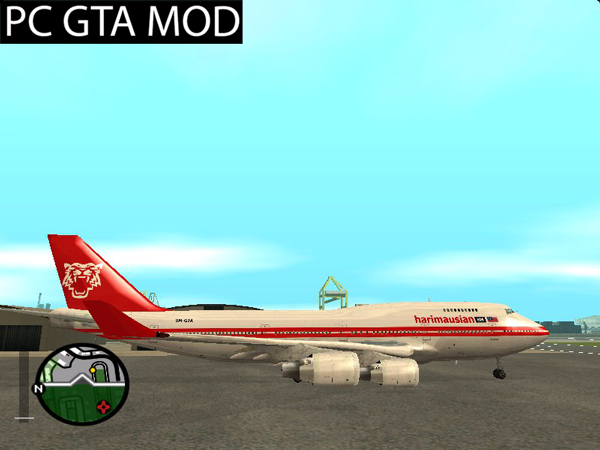 Free Download Boeing 747-200 Harimau Airlines (1970 Fake-Real Livery) Mod for GTA San Andreas.
