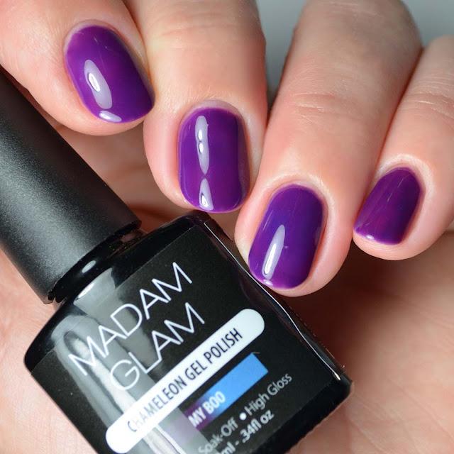 blue to purple chameleon thermal gel nail polish