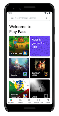 """A phone displaying """"Welcome to Play Pass"""""""