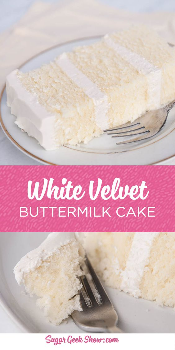 This white velvet buttermilk cake recipe is my FAVORITE cake recipe out of all of them. Yes even better than my famous vanilla cake recipe! The texture of this cake is simply out of this world…