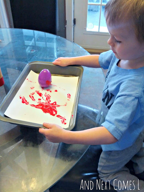 J painting with wobbly Easter eggs from And Next Comes L