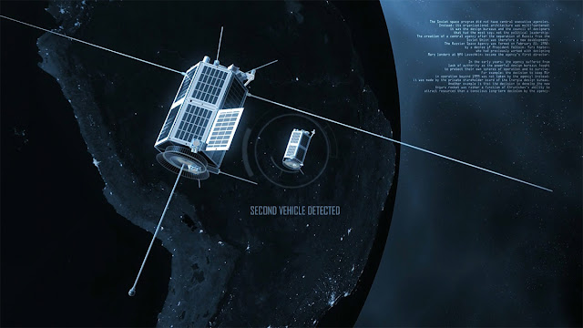 Ilustração artística do suposto satélite de guerra russo apelidado de boneca russa