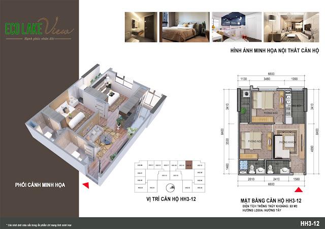 Thiết kế căn hộ 56m2 dự án Eco Lake View