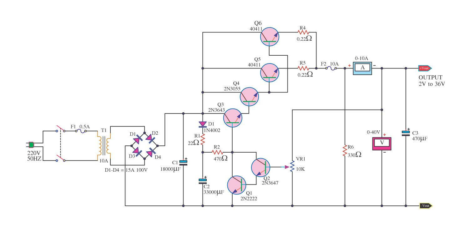 Amp Regulated Power Supply Circuit Diagram Electronic Circuit