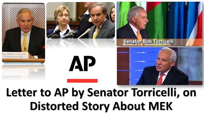 Letter to AP by Senator Torricelli, on Distorted Story About MEK