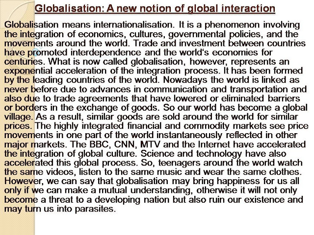 Globalisation: A new notion of global interaction@besteducationpage