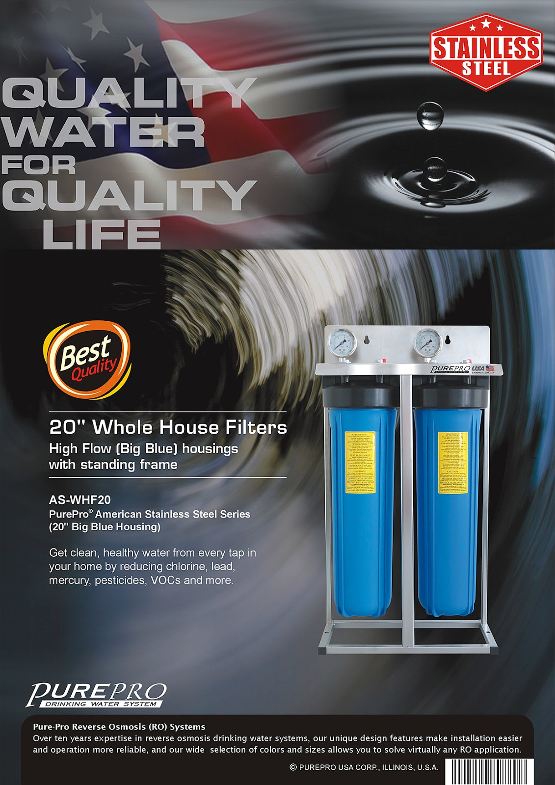 "PurePro® American Stainless Steel Series (20"" Big Blue Housing) AS-WHF20"