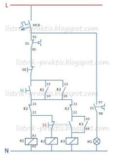 Diagram kontrol pengasutan motor 3 phasa dengan auto trafo