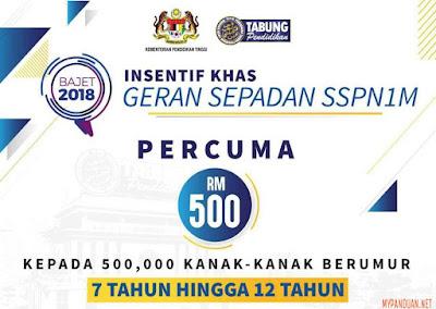 Permohonan Geran Sepadan RM500 SSPN1M 2018