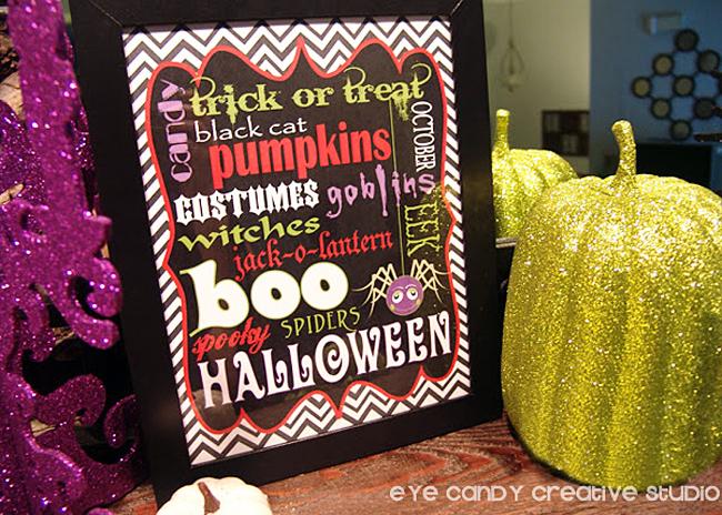 glam halloween, halloween art print, free halloween art, glitter pumpkin
