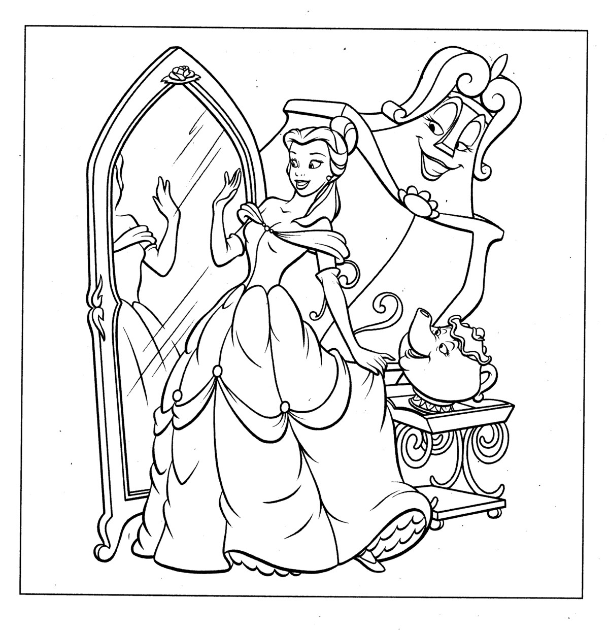 Disney Princess Belle Coloring Pages To Kids | free printable coloring pages disney princesses