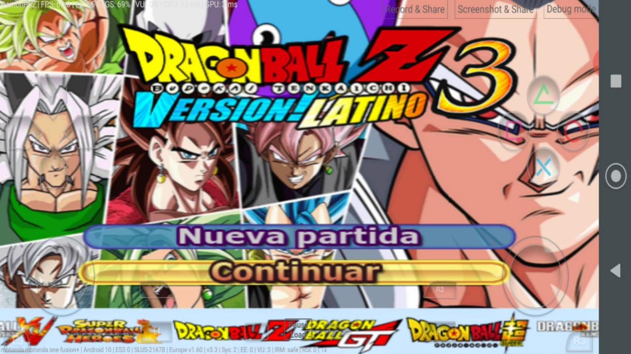 Dragon Ball Z Budokai Tenkaichi 3 MOD Version Latino PS2 ISO