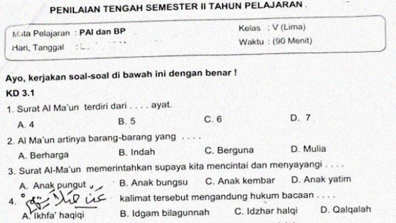 Soal Penilaian Tengah Semester 2 Mapel PAI BP Kelas 5 SD
