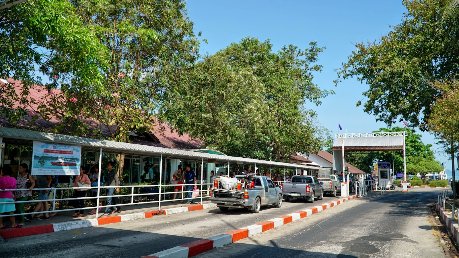 At Donsak pier, waiting for our bus to exit the ferry