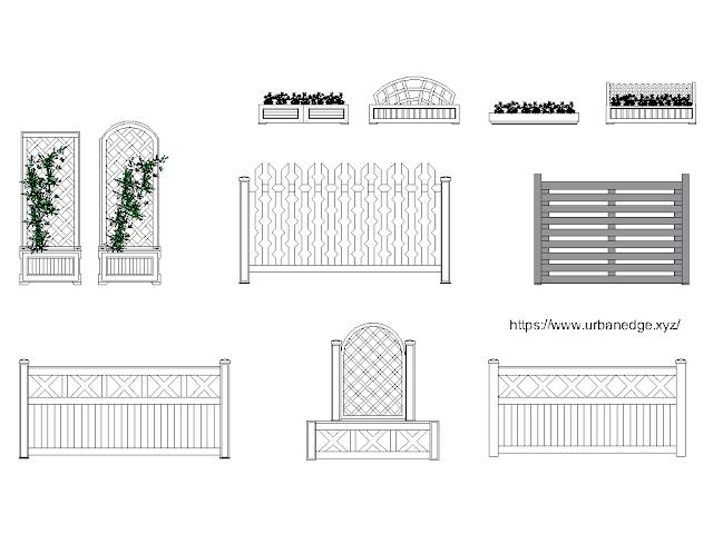 Flower Beds and Fences free cad blocks download - 10+ Dwg Models