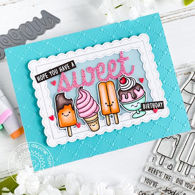 Sunny Studio Stamps: Summer Sweets Fancy Frame Dies Sweet Word Die Birthday Card by Leanne West