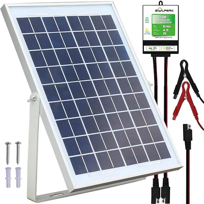 SOLPERK 10W Solar Panel,12V Solar Panel Charger Kit+8A Controller