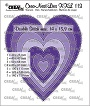 Set van 7 stansen om harten te maken met dubbele stiksteeklijn. Set of 7 dies to make hearts with double stitching line.