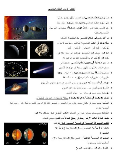 مراجعة الأرض والكواكب مع الحل علوم