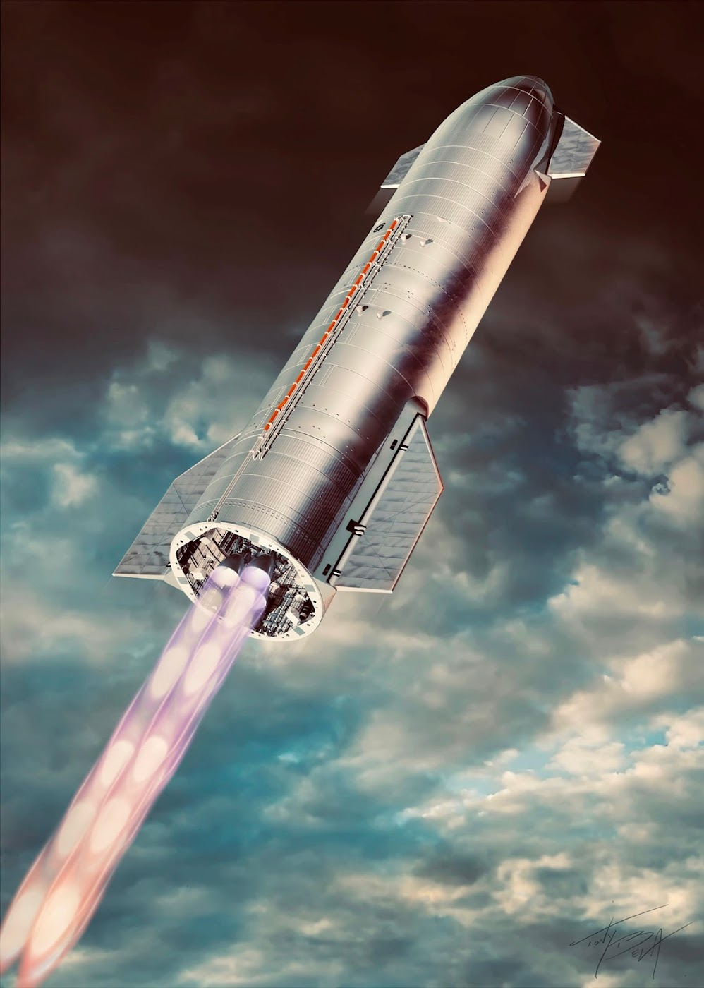 Poster of SpaceX's Starship SN8 ascent by Tony Bela