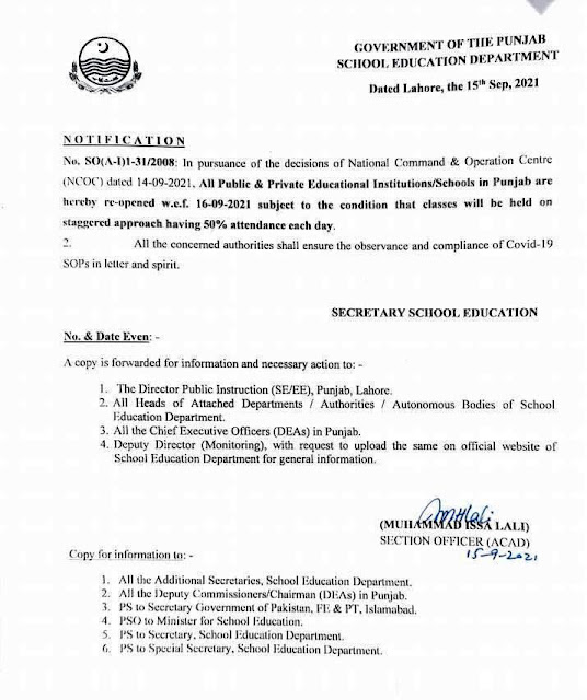 RE-OPENING OF ALL EDUCATIONAL INSTITUTIONS / SCHOOLS