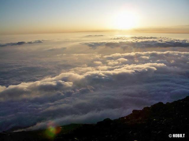 朝日に照らされる雲海~富士山
