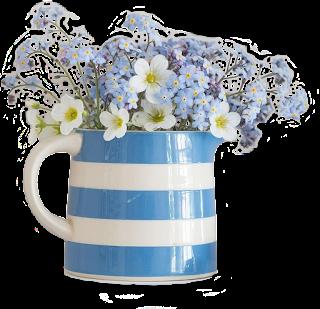 Vaso azul com flor azul