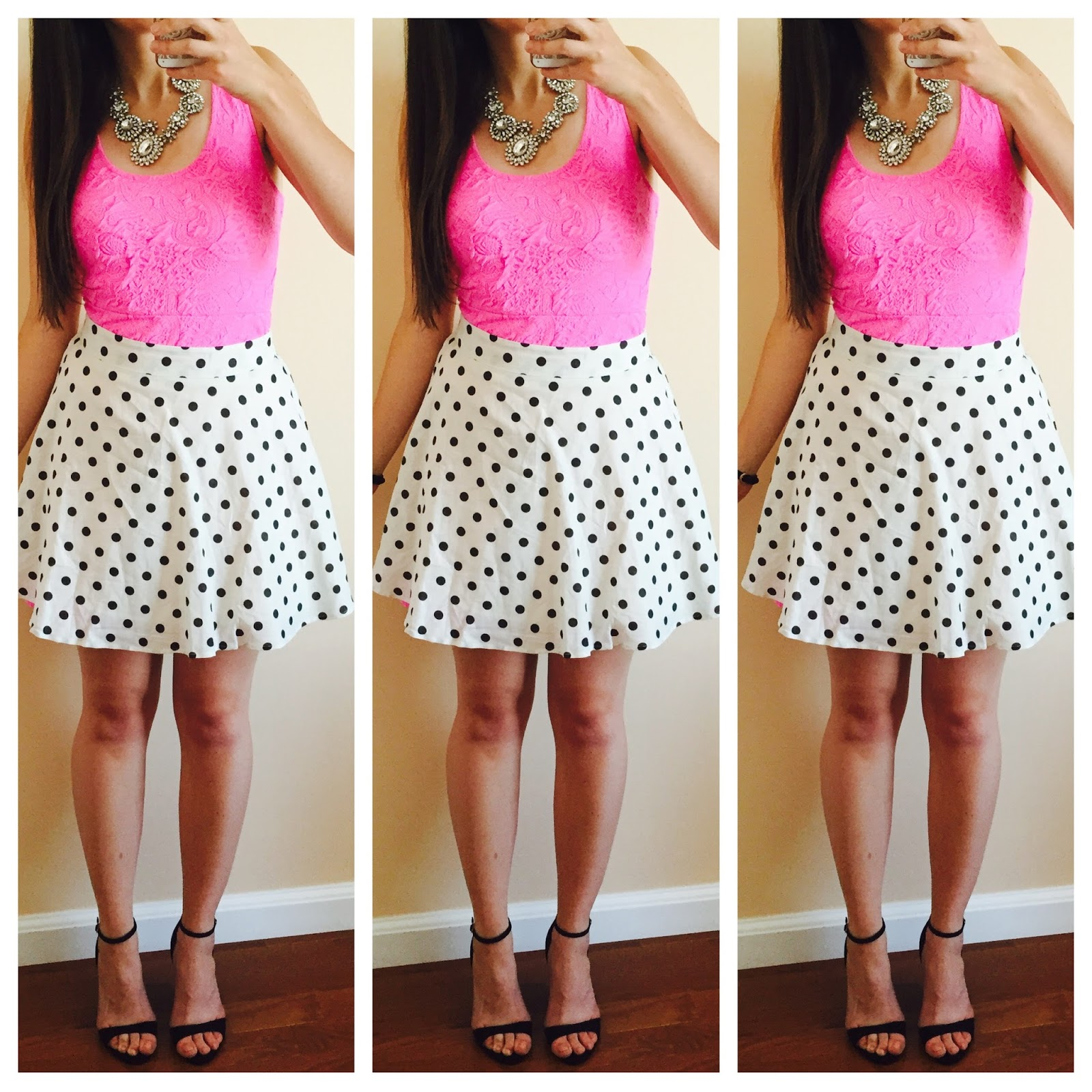 polka dot skirt over a pink dress, how to style a summer dress with a skirt over it, polka dot skirt, pink dress,