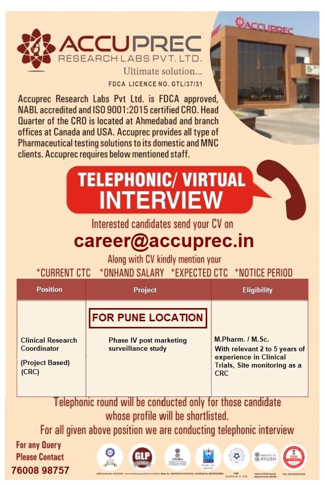 Accuprec Research Labs Pvt. Ltd Requires M.Pharm. / M.Sc. Candidates For Position Clinical Research Coordinator For Pune Location