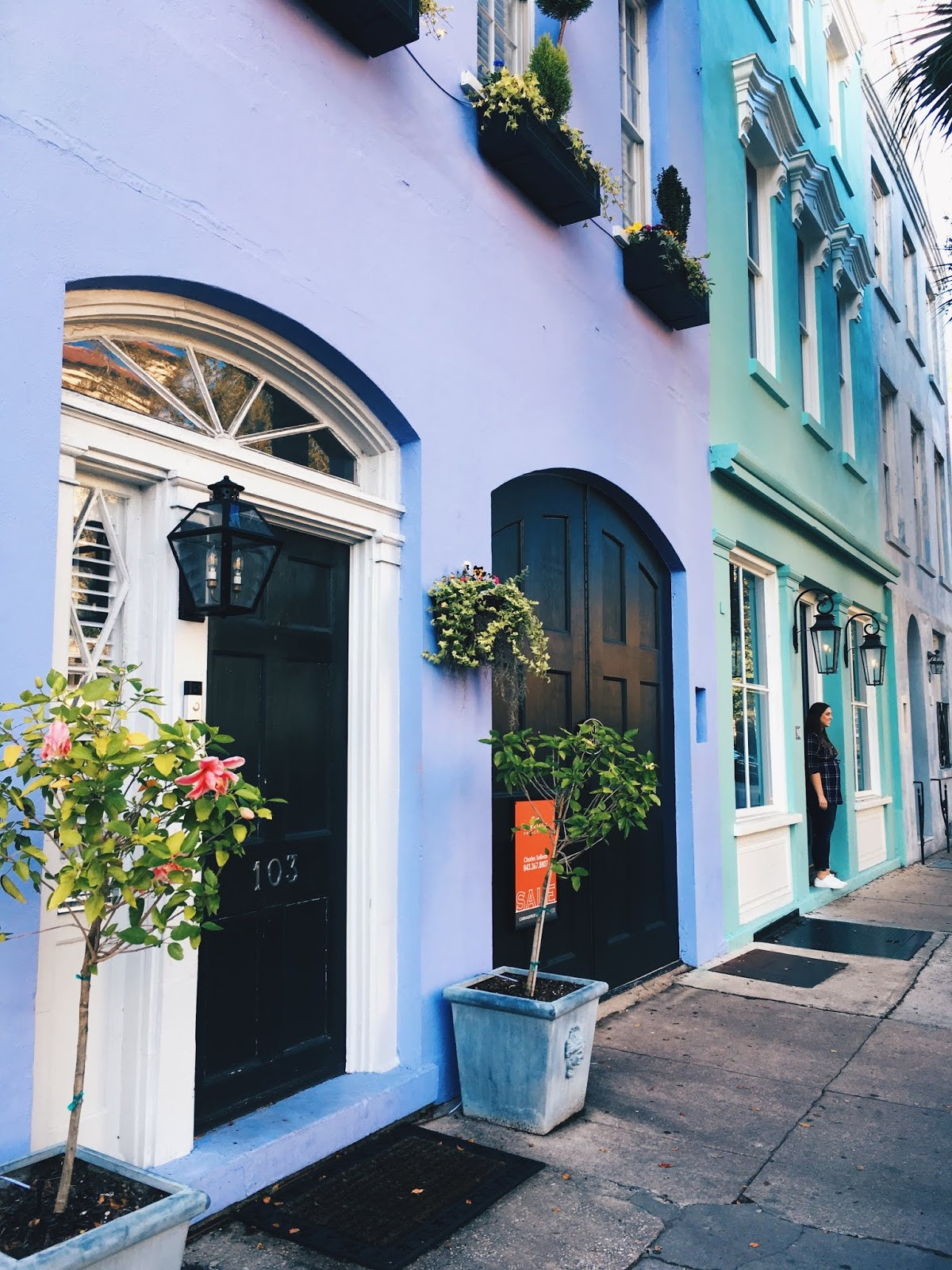 A colorful house on Rainbow Row in Charleston, SC