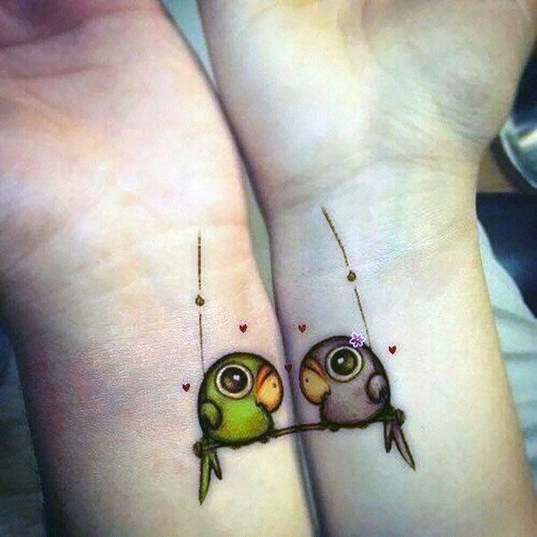 Tatuaje para pareja de par de loros