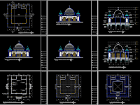 Download Desain AutoCad Masjid Ukuran 18 m x 18 m